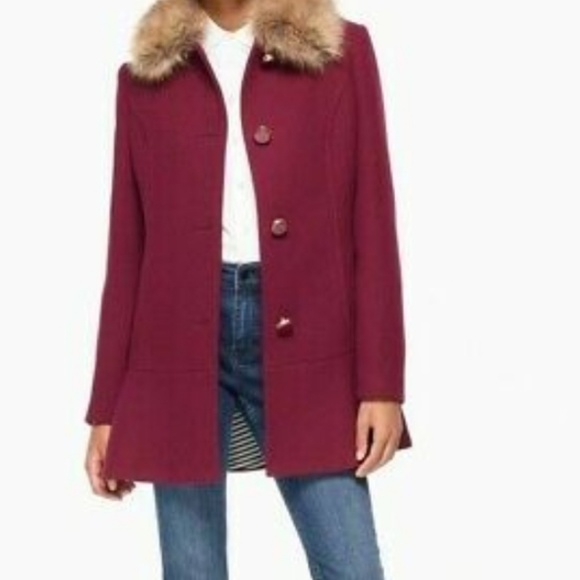 kate spade Jackets & Blazers - Kate spade faux fur collar coat midnight wine